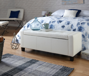 Brilliant Details About Bedroom Storage Bench White Window Seat Hallway Upholstered Longue Ottoman Box Dailytribune Chair Design For Home Dailytribuneorg