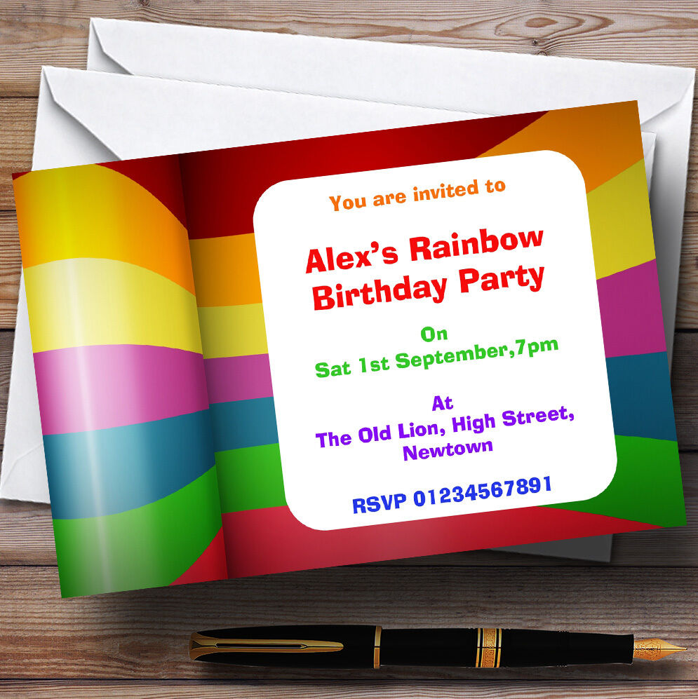 Rainbow Colours Theme Personalised Birthday Party Invitations - Th75