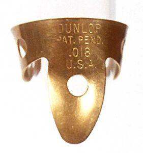 """2-pack De Dunlop Brass Fingerpicks - .018""""-afficher Le Titre D'origine Bon Pour L'éNergie Et La Rate"""