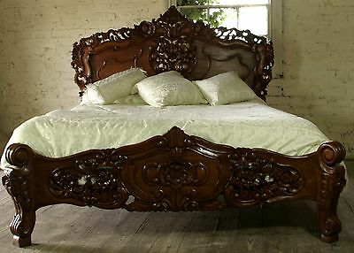 Antique Furniture Rococo 6' Super King Size French Louis Antique Style Solid Mahogany Bed New Fast Color
