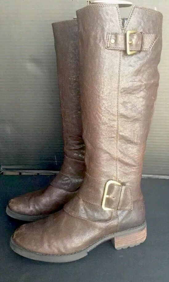 STEVEN STEVE MADDEN Brown Leather CASSEY Tall buckle RIDING MOTORCYCLE Boot S 6