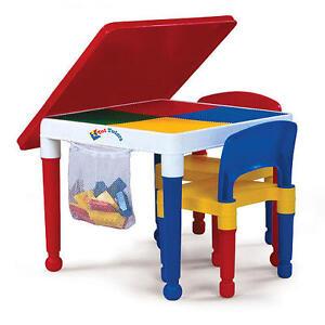2 in 1 kids construction lego table set blocks storage play top toddler daycare ebay. Black Bedroom Furniture Sets. Home Design Ideas