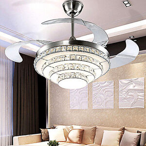 LED Crystal Invisible Ceiling Fan Light Modern Dining Room Fan Chandelier Lam