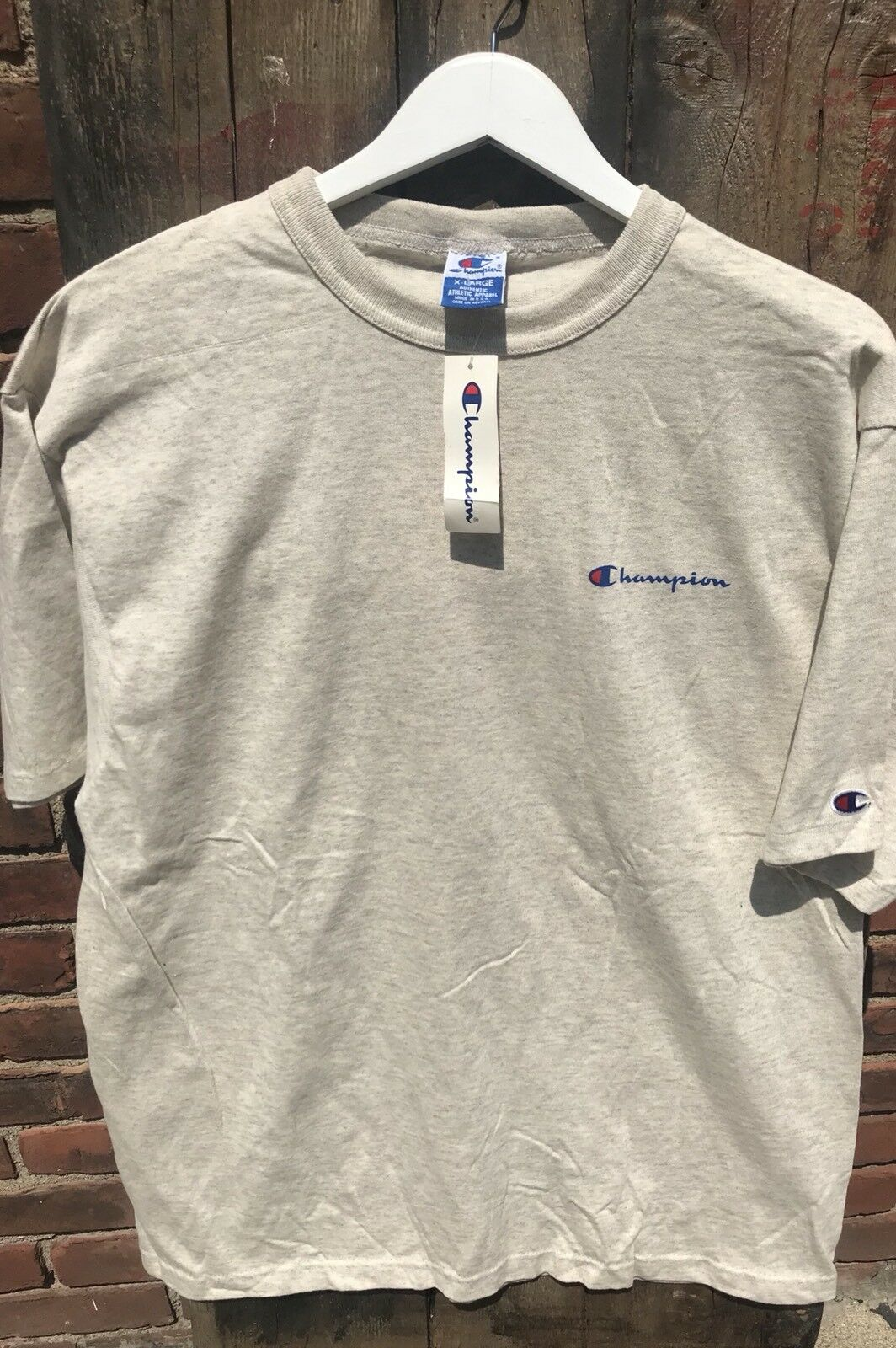 New XL Vintage 1990s Champion Oatmeal Script T Oversized Baggy Fit Shirt