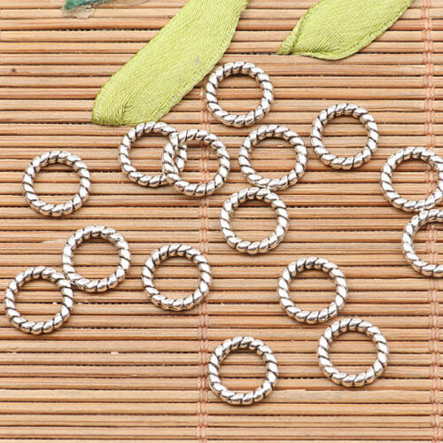 100pcs tibetan silver color round knitted texture ring frame design h1582