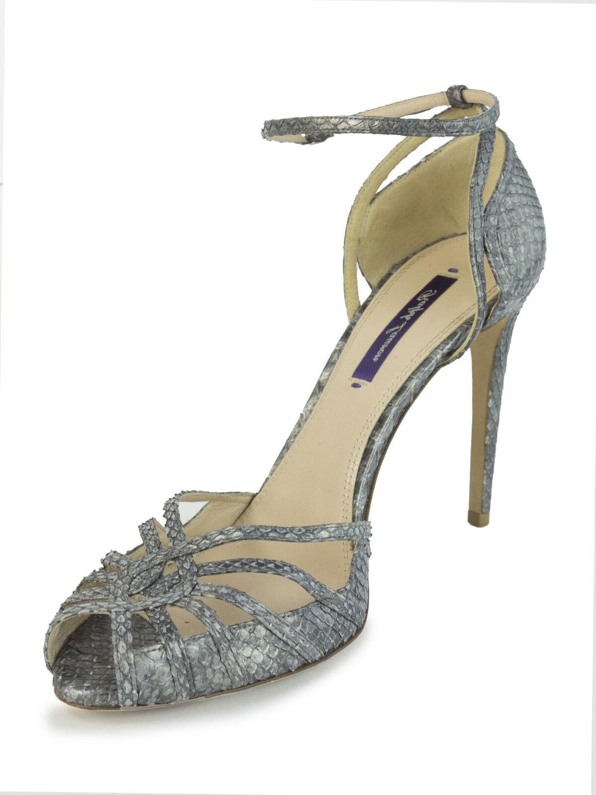 RALPH LAUREN Purple Label Women's Metallic Grey Snakeskin Sandals Sz 10.5  1,250