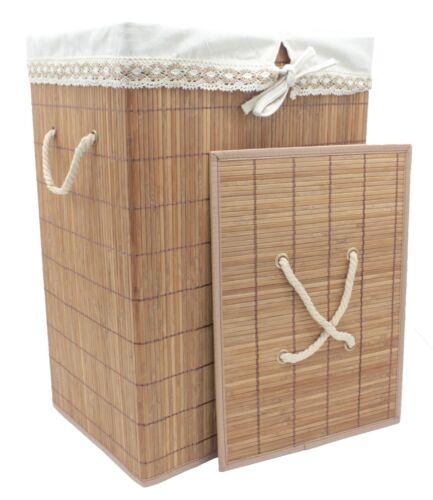 Foldable Natural Bamboo Brown Laundry Hamper Basket Lid Removable Cloth Liner