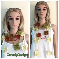 HANDMADE Women's scarf flower lariat infinity cowl knit crochet necklace greens