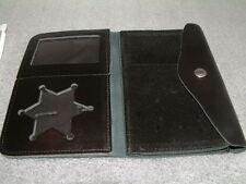 Leather Bi-Fold Snap Police Correction Badge ID Window Case Wallet Holder Shield