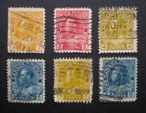 Lot-of-6-Stamps-1911-1925-used-King-George-V-Admiral-Issue-99-Postage-Canada
