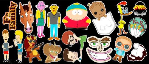 17 Adult Cartoon Vinyl Sticker Pack #1