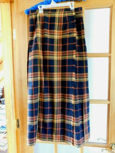 LADIES VINTAGE ALJEAN VIRGIN WOOL PLAID SKIRT SIZE
