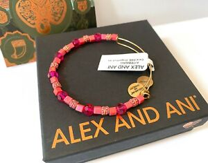 Alex and Ani DRAGONFRUIT CORAL Rafaelian Gold Charm Bangle New W// Tag Card /& Box