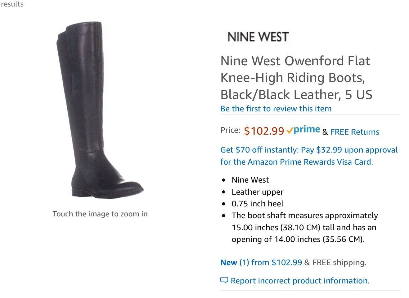 Nine West Womens Owenford Leather Closed Toe Knee High Riding Boots