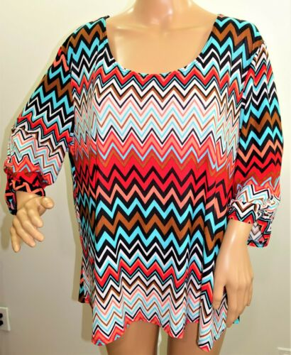 Promises Women Plus Size 1x 2x 3x Coral Turquoise Chevron Tunic Top Blouse Shirt