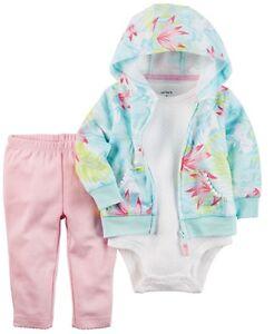 Carter's NWT 12M 24M Infant Girl Tropical Little Jacket Bodysuit Pant Set