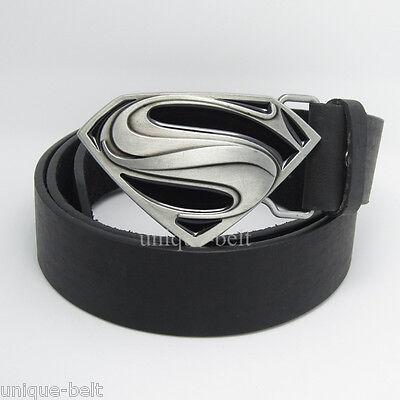 New Men of Steel Leather Mens Superhero Superman Metal Silver Belt Buckle