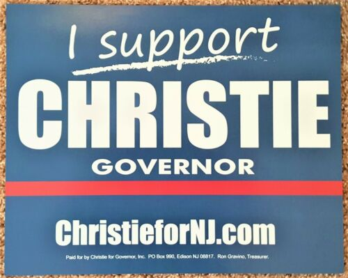 2013 New Jersey Governor Chris Christie Official 2 Sided Rally Campaign  Sign