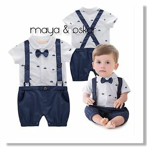 21c2309fa1 Details about Baby Boys Navy Summer Party Wedding Smart Outfit Tuxedo  Sailor Romper Set 3-18m