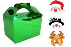 Childrens Kids Christmas Meal food Boxes with Fun Xmas Face Masks