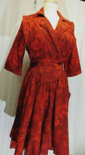 Vintage 50's Red Rose light flannel Shirtwaist Dre