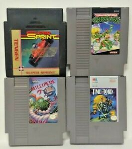 Nintendo-NES-Game-Lot-Tested-Authentic-Turtles-Millipede-Time-Lord-SUper-Sprint