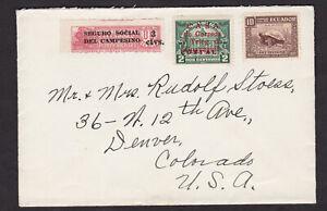 Ecuador-1935-Cover-to-USA-Overprint-Surcharge-Telegraph-Revenue-Stamps