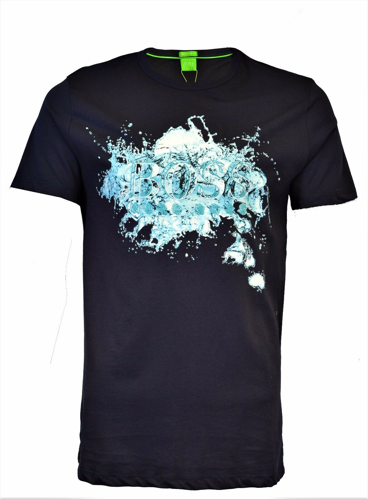 BNWT HUGO BOSS NAVY Blau WATER SPLASH PRINT T-SHIRT MAGLIETTA CAMISETA RARE