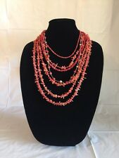 """HSN Studio Barse Red Coral 7 row Necklace 18""""-28"""""""