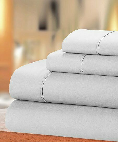 4 PCs Bed Sheet Set All US Size 1000 Thread Egyptian Cotton Light Grey Solid