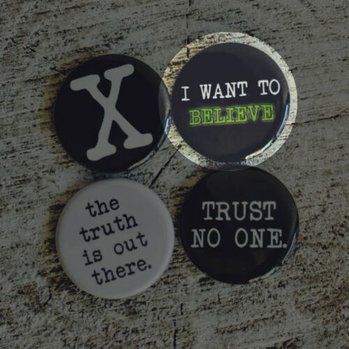 """1.25/"""" UFO ALIENS BUTTONS badge pins i want to believe trust no one x files truth"""