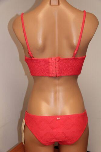 NWT Roxy Swimsuit 2pc Bikini Set Sz M Cheeky Scooter Push Up  Pink