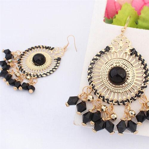 1 Pair Tassel Flower Disc Drop Dangle Earrings Ethnic Statement Jewelry 6A