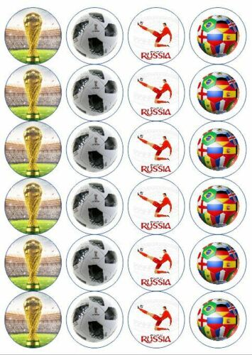 24 x Precut Edible coupe du monde de football Russie 2018 Cupcake Décoration toppers