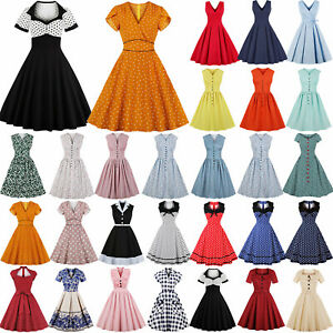 Details about Plus Size 40s 50s Rockabilly Vintage Style Retro Womens Party  Skater Swing Dress