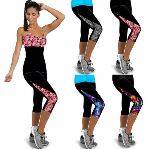 Womens 3//4 Capri Yoga Pants Trousers Gym Fitness Sports Jogging Cropped Leggings