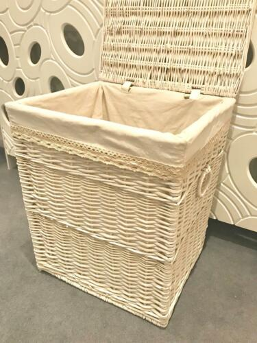 Nouveau Grand Blanc Panier à linge salle de bain chambre à coucher rangement vêtements sac panier bin