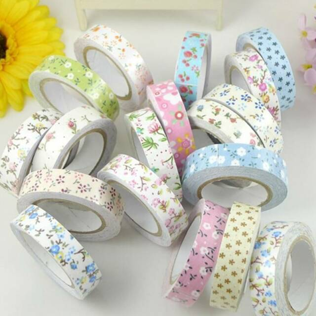Flower Printing Fabric Decorative Self Adhesive Washi Tape Sticky Paper Sticker