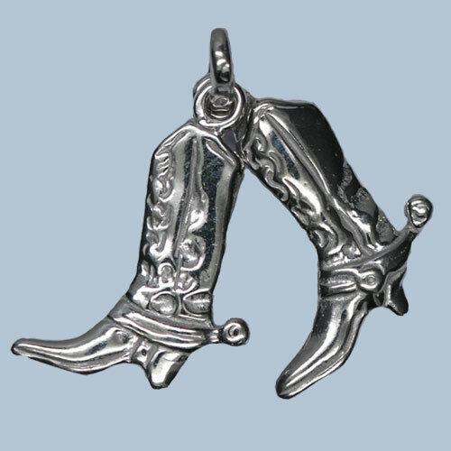 925er Sterling plata-óptica 3d-cadena incl. Colgante botas de vaquero