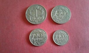 Poland 10, 20 and 50 Groszy 1923 and 1 zloty 1929