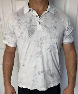 Lululemon Men Size M Metal Vent Tech Polo White Gray WHT/WHT/CAST X-Static
