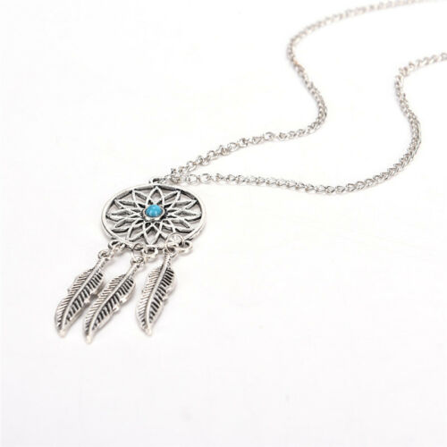 Bohemian Boho Dreamcatcher Leaves Feather Pendant Necklace Earrings Jewelry SeBE