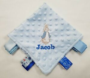 Peter Rabbit Rattle Taggy Blanket Set Personalised Choose Item Unique Baby Gift