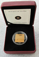 2011 CANADA STERLING SILVER $3 DOLLARS SQUARE GILDED COIN ORCA WHALE