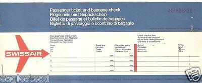 SWISSAIR Airlines Ticket Jacket Unused.