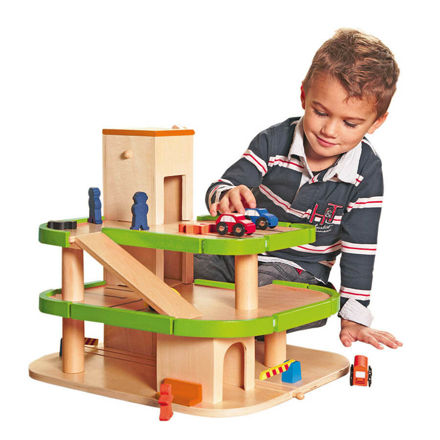 KINDER HOLZ PARKHAUS Holzspielzeug Parkgarage Spielzeug Holzauto Auto Bahn 90083