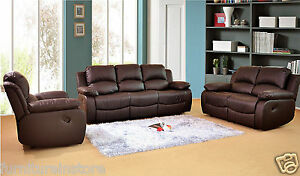 Phenomenal Details About Valencia Leather Recliner Sofa Set 3 2 Suite Couch Brown 2 Seater 3 Seater New Ibusinesslaw Wood Chair Design Ideas Ibusinesslaworg