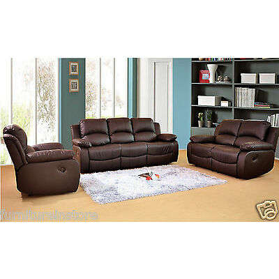 VALENCIA SOFAS LEATHER RECLINER SOFA SUITE BROWN SETTEE COUCH TWO PIECE SUITE