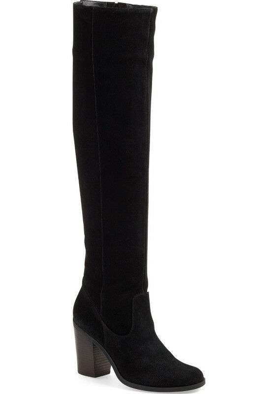 NEW STEVE MADDEN Eternul Over the Knee Black Suede Block Heel Boots Size US 6.5