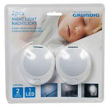 2x GRUNDIG LED Nachtlicht Treppenlicht Schlafzimmer Nachtlampe 230V Steckdose
